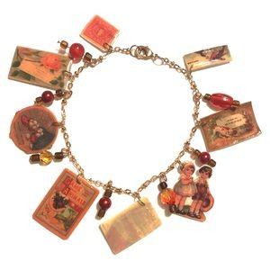 Vintage ephemera inspired charm bracelet